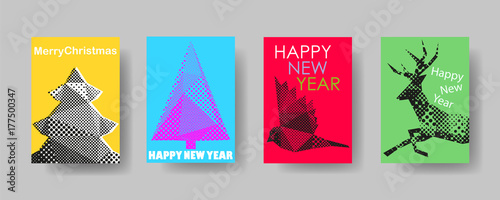 Colorful holiday Christmas cover trendy design template, Vector backgrounds set. Design industry for posters, placards,banners, flyers. Hand drawn illustration.