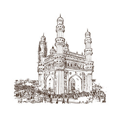 Sketch of Charminar Hyderabad Telangana India in vector illustration.
