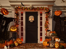 Halloween Decorated House With...