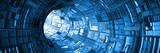 Fototapeta Do przedpokoju - abstract blue technology tunnel with light at the end