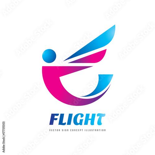 Fotografiet Flight - vector logo template concept illustration