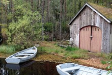Wooden Boats And Boat Shed, Sc...