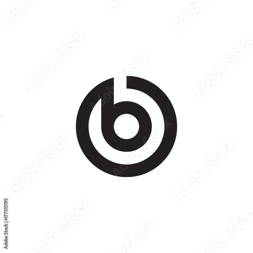 Fotomural  Initial letter ob, bo, b inside o, linked line circle shape logo, monogram black