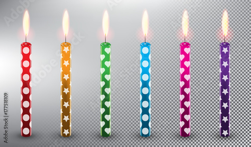 Set Of 6 Vector Candles Birthday Cake Realistic And Isolated With Transparent Burning