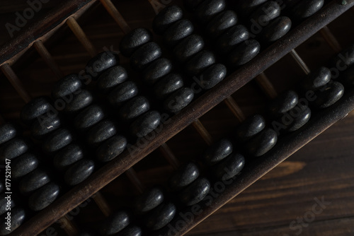 Old abacus on a wooden floor in the dark Canvas Print