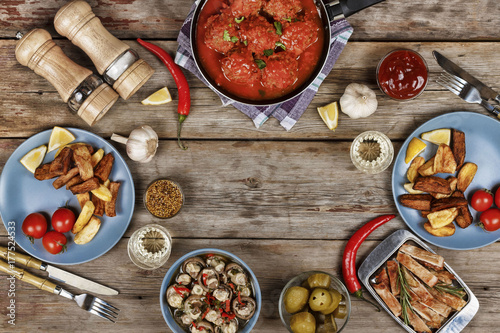 Authentic Italian Meatballs, chips and other traditional snacks