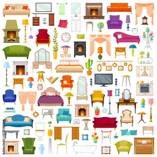 Fotografía  Vector set of furniture in flat style isolated on white background