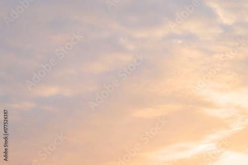Obraz Beautiful Morning Sunrise Sky with Tiny White Clouds - fototapety do salonu