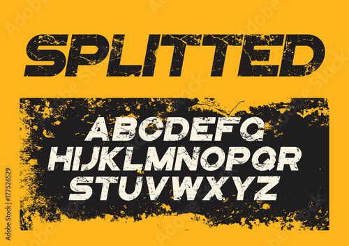 Fotografie, Obraz  Decorative textured bold font with grunge distress effect. Vecto