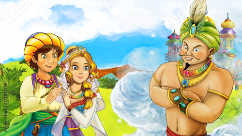 Poster Kasteel cartoon scene with wedding couple in front of city with magician in front of them illustration for children