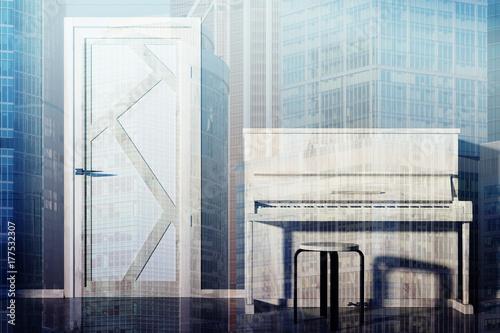 Zdjęcie XXL Fortepian w pustym salonie toned