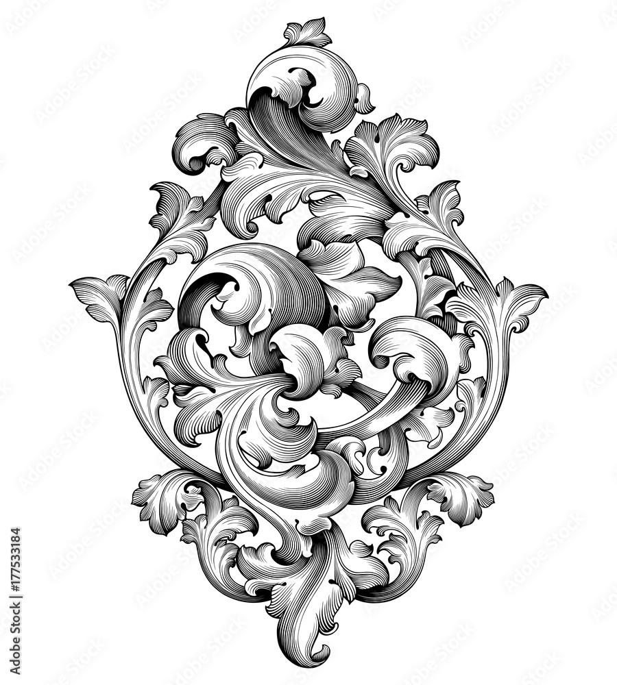 Fototapeta Vintage Baroque Victorian frame border corner monogram floral engraved scroll ornament leaf retro flower pattern decorative design tattoo black and white filigree calligraphic vector heraldic shield