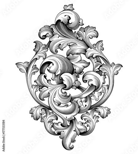 Fototapeta Vintage Baroque Victorian frame border corner monogram floral engraved scroll ornament leaf retro flower pattern decorative design tattoo black and white filigree calligraphic vector heraldic shield obraz