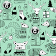 Vector Seamless Christmas Pattern with Doodle Animals in the Wood