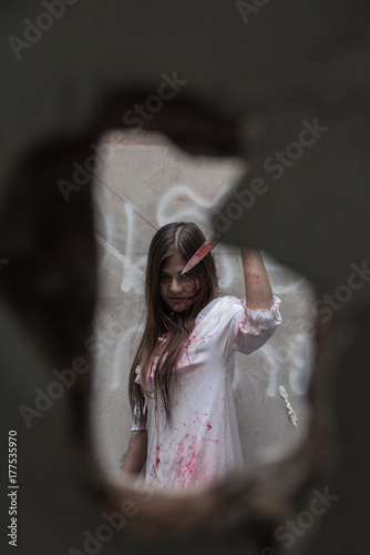 Fototapety, obrazy: Zombie or Ghost woman with bloody in hole cement broken