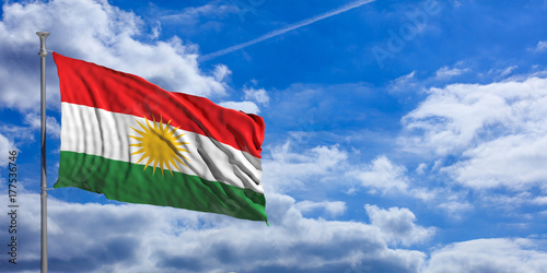 Cuadros en Lienzo  Kurdistan flag waves under the blue sky with many white clouds