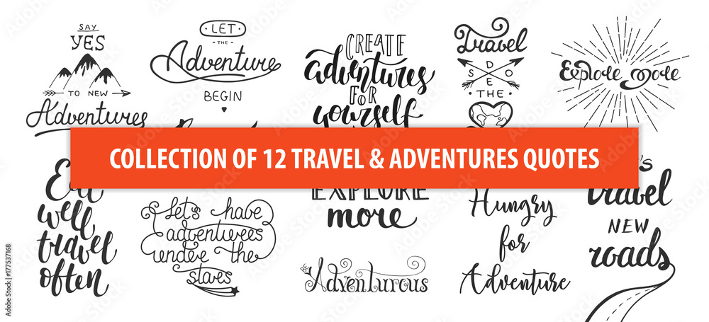 Fototapeta Set of adventure and travel vector hand drawn unique typography design element for greeting cards, decoration, prints and posters. Modern calligraphy. Handwritten lettering.