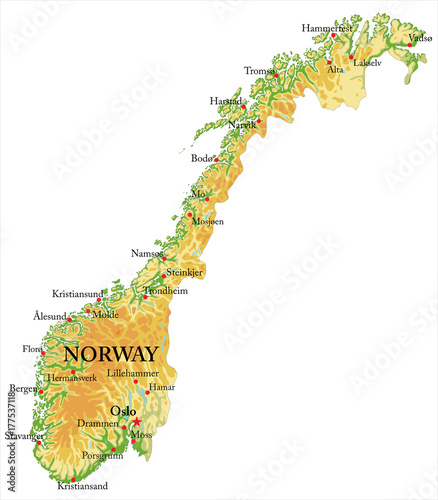 Fotografie, Tablou  Norway Relief map
