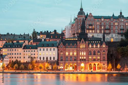 Fototapeta Nocny widok Sztokholm, stolica Szwecji