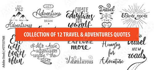 Obraz Set of adventure and travel vector hand drawn unique typography design element for greeting cards, decoration, prints and posters. Modern calligraphy. Handwritten lettering. - fototapety do salonu