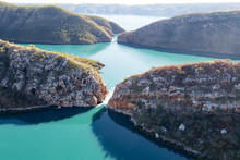 An Aerial Shot Of The Horizontal Falls In Talbot Bay, The Kimberley, Australia