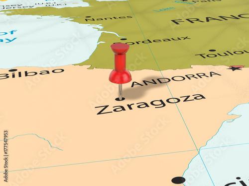 Pushpin on Zaragoza map