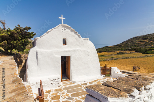 Church on the island of Amorgos, Cyclades, Greece Wallpaper Mural