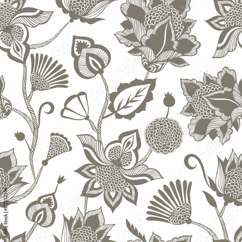 Leinwand Poster Vintage ethnic seamless pattern with floral elements.