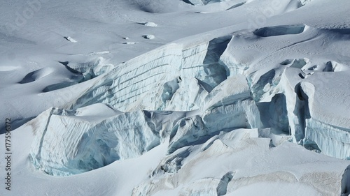Fototapeta  Detail of the Aletsch glacier. Crevasses and layered ice.