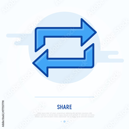 Photo Thin line icon of share, exchange, transfer or refresh