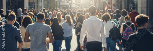 plakat crowd of people in a shopping street