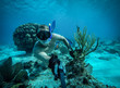 Underwater wide angle selfie of muscular swimmer in a crystal water
