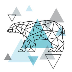Panel Szklany Skandynawski Geometrical silhouette of a polar bear. Scandinavian style. Vector illustration.
