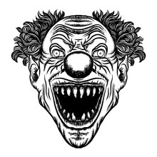 Scary Cartoon Clown Illustrati...
