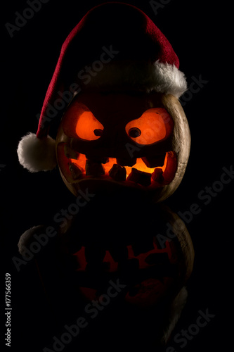 Halloween And Christmas.The Concept Of Halloween And The New Year And Christmas The