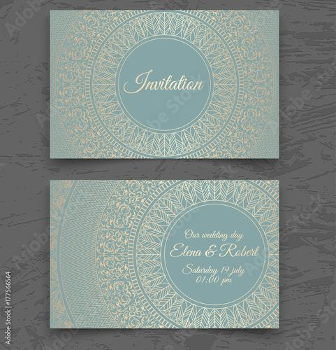 Vintage wedding invitation or business card templates cover design vintage wedding invitation or business card templates cover design with gold mandala ornaments vector reheart Choice Image