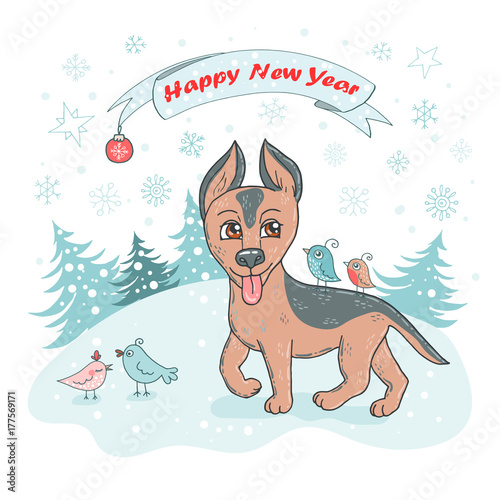 christmas and happy new year card with cute dog breed german shepherd puppy and bird