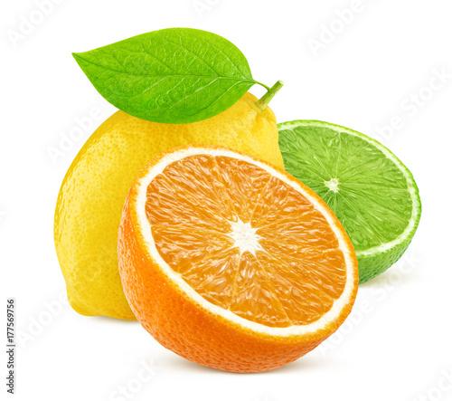 Poster Fruits Isolated citrus fruits. Lemon, lime, and orange isolated on white background