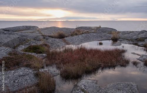 Photo Island in Stockholm archipelago at sunrise.