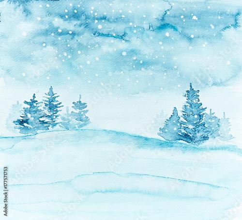 Printed kitchen splashbacks Light blue Winter Landscape with Spruces (hand painted)