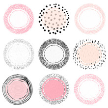 Hand Drawn Artistic Doodle Labels Or Tags With Lines, Dots And Scribbles For Product Packaging For The Food, Cosmetic And Health Industry