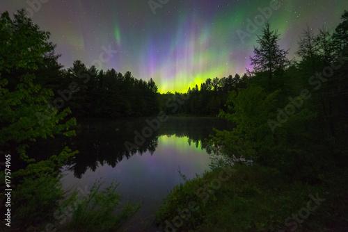 Foto auf Gartenposter Nordlicht Northern Lights over a small pond, Muskoka, Ontario, Canada.