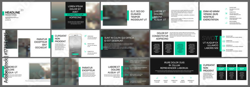 Fototapeta Green and black presentation templates elements on a white background. Vector infographics. Use in Presentation, flyer and leaflet, corporate report, marketing, advertising, annual report, banner. obraz na płótnie