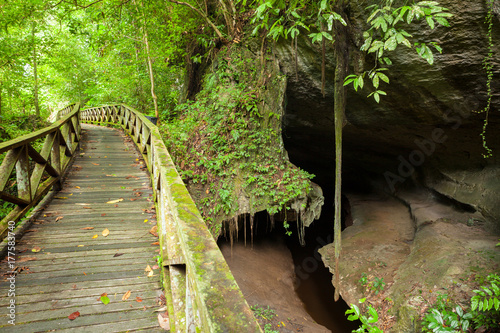 Printed kitchen splashbacks Boardwalk and small cave in Niah national park Borneo Malaysia
