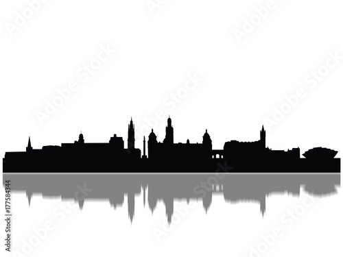 Detailed Glasgow Monuments Skyline Silhouette