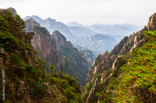 Yellow Mountains in China during fall season