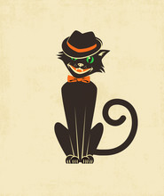Cool Black Cat In A Fedora For...