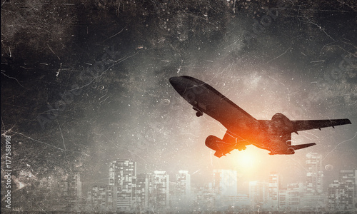 Photo Airliner in sky. Mixed media