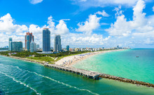 South Pointe Park And Pier At South Beach, Miami Beach. Aerial View. Paradise And Tropical Coast Of Florida, USA.