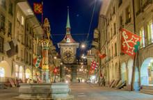 Night Shot Of Clock Tower In Bern